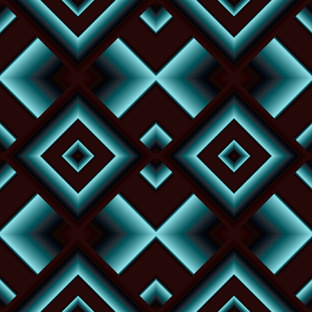 grille: Dark matte seamless pattern of diamonds shining turquoise Illustration