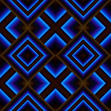 grille: Dark brown matte seamless pattern of diamonds shining in bright blue Illustration