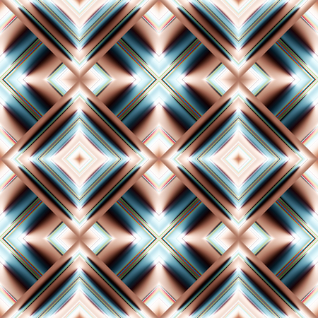 grille: complex seamless pattern of diamonds in the form of smooth convex plates striped beige and turquoise water reflecting from the light