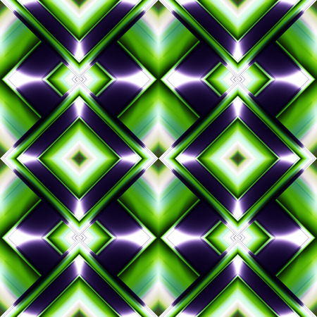 grille: double layered seamless pattern of diamonds in the form of faceted brilliant blue plates on a green background Illustration