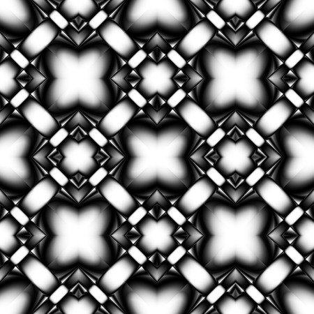oriented: Complex fractal seamless pattern from rhombs with a crystal or chrome patterns with brilliance and refraction of light
