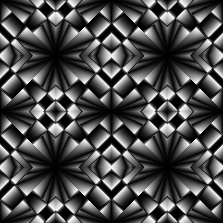 grille: Fractal complex dark diamond-shaped seamless pattern with sharp chrome patterns like arrows
