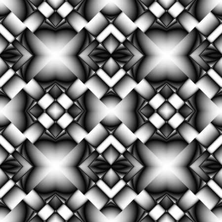 Fractal seamless pattern of diamonds in the form of tiles with images on them chrome or glass elements