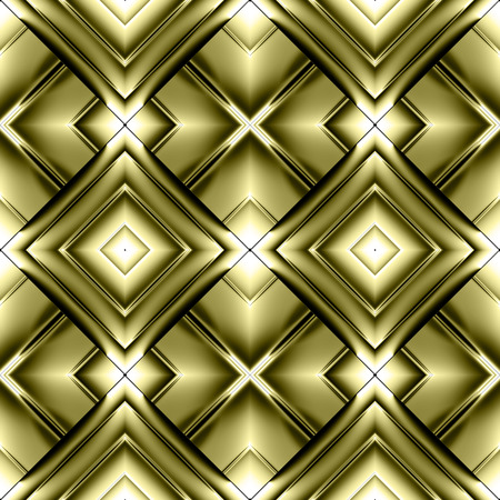 Seamless pattern of diamonds in the form of metal plates and stripes of shiny gold crosses and elements reflect light