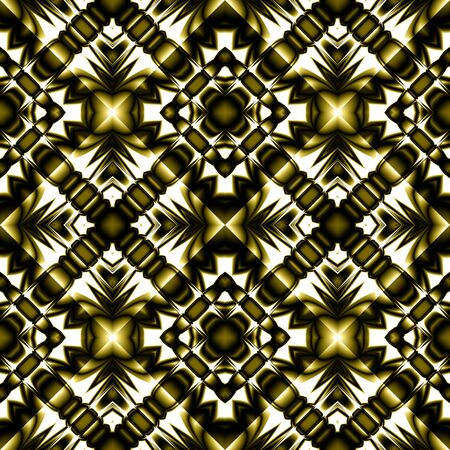 Fractal complex dark diamond-shaped seamless pattern with sharp gold designs like arrows