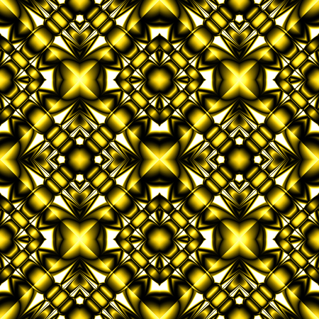 diamond plate: Fractal bright complex diamond-shaped seamless pattern with faceted crystal and gilded elements Illustration