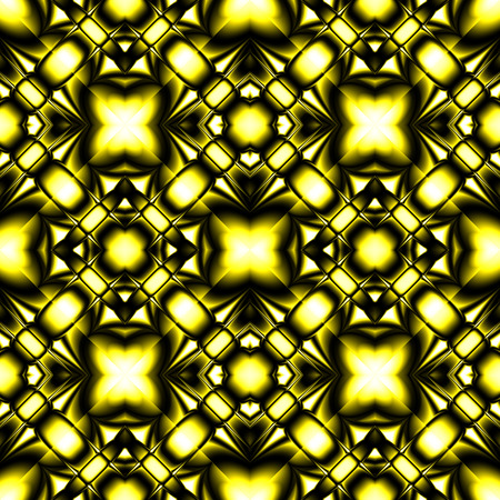 Fractal bright complex diamond-shaped seamless pattern with faceted glass and gold elements Illustration