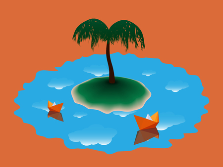 Stylized landscape with green island and a palm tree, around which the blue water, which reflects the white clouds, floating orange paper boats