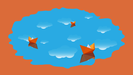 Stylized landscape with blue water, which reflects the white clouds, floating orange paper boats