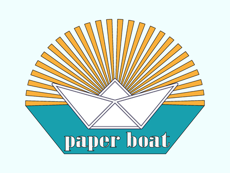 folded paper: stylized image or logo is a paper boat in the turquoise sea in the background of the setting sun and the inscription beneath it