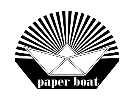stylized image or logo is a paper boat in the sea on the background of the setting sun and the inscription beneath it. Black and white version