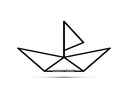 stylized logo in the shape of a paper boat with a mast and sail and the words and a shadow beneath it. Illustration