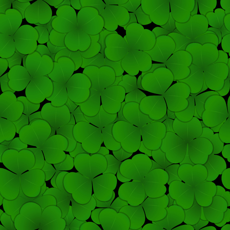 A seamless pattern green clover leaf on black background