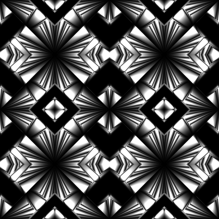 Stylized black and white seamless pattern with arrows and diamonds