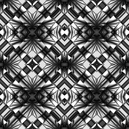 Black and white stylized metal or glass seamless pattern with stripes and wrinkles in diamonds