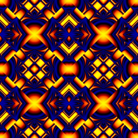 Beatiful fiery blue seamless pattern stylized like stained glass in the form of different elements stacked rhombus with refraction and reflection of light