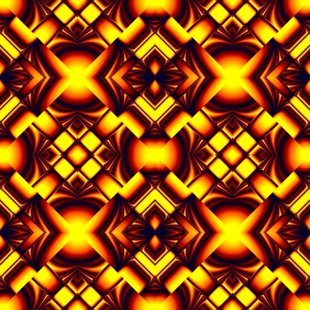 Creative fiery red seamless pattern stylized molten metal in the form of different elements stacked rhombus with refraction and reflection of light