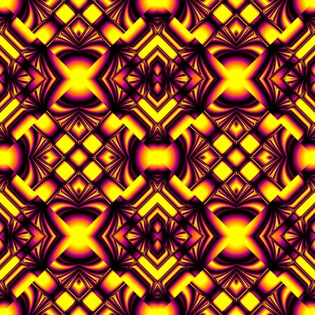 crosses: yellow, purple, seamless pattern stylized metal strips and crosses in the form of tiles laid with diamonds