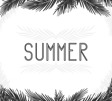 the inscription summer in the frame of the leaves of palm trees black white Doodle for logos and design