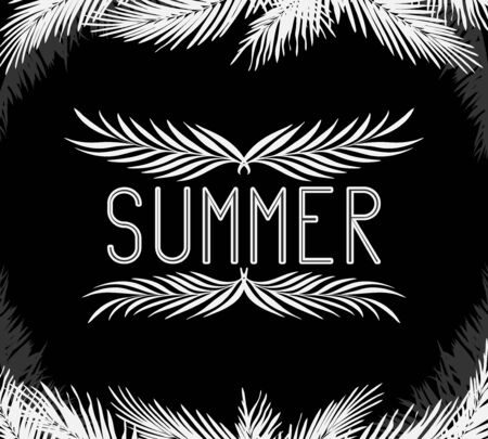 the inscription summer in the frame of the leaves of palm trees white on black. night Doodle for logos and posters