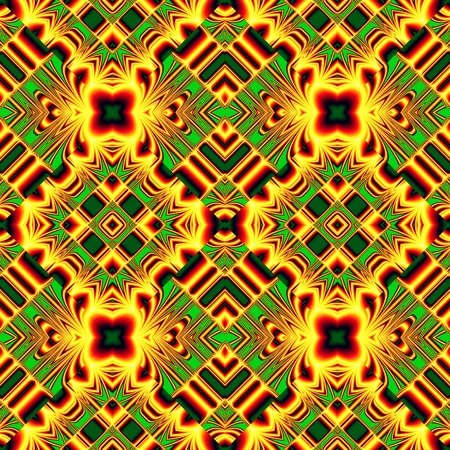 seamless pattern of randomly ordered elements rhombic structure funny green and yellow colors Illustration