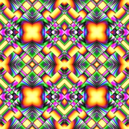 seamless pattern of randomly arranged items kaleidoscopic structures in bright colors