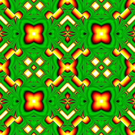 rhombic: seamless pattern of randomly ordered elements rhombic structure funny green and yellow colors Illustration