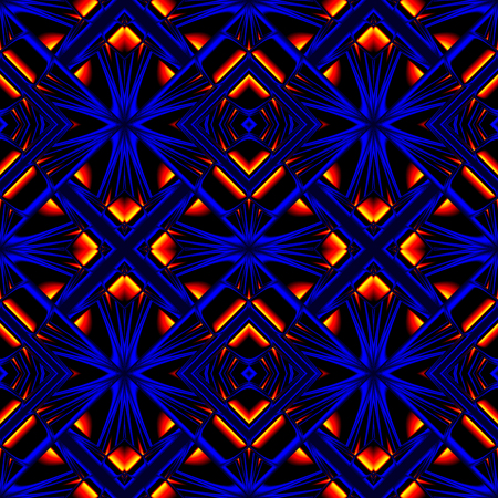 to tread: stylish seamless pattern reflecting and refracting elements of the rhombic structures in fire colors