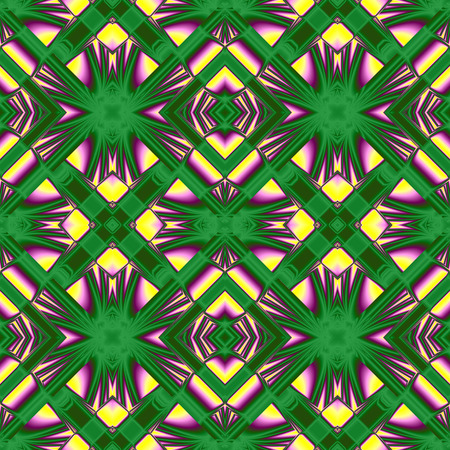 rhombic: seamless pattern from the ordered to the chaotic elements of the rhombic structures in yellow, green, purple colors