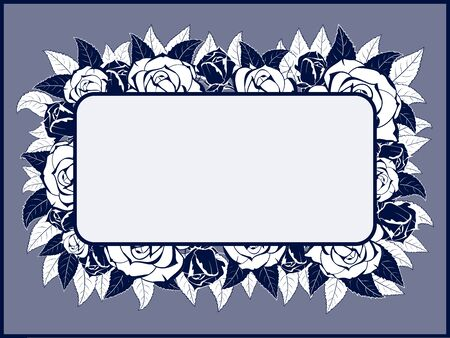rim: Frame for text greeting card on the background of the buds and leaves of roses on a blue background