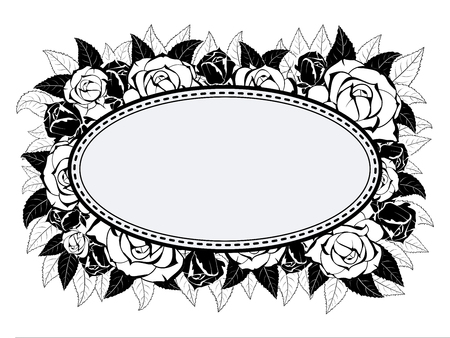 Stylish oval stitched frame for decoration of greeting cards in black and white style on the background of the buds and leaves of roses