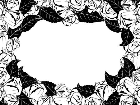 frameless oval frame design for greeting card in black and white style, surrounded by buds and leaves of roses