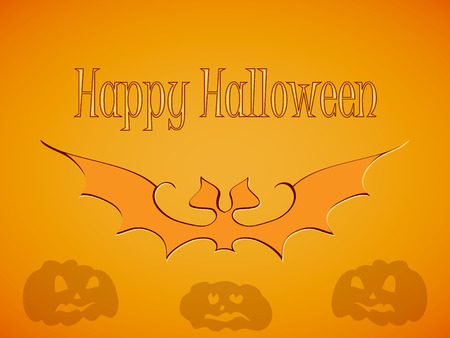 Orange Halloween bat and Halloween pumpkin on orange autumn background, and the caption Happy Halloween logo-design and congratulations with the day of Halloween