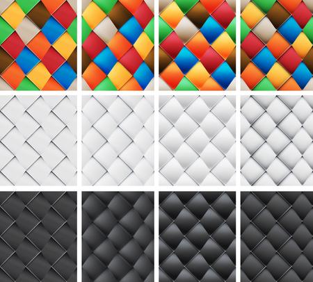 folksy: Asymmetrical patchwork set seamless patterns with skewed vertical Material