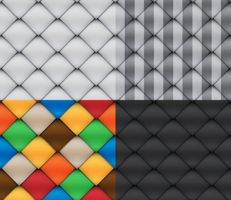 Stylized patchwork set seamless patterns with overlap Materials Illustration