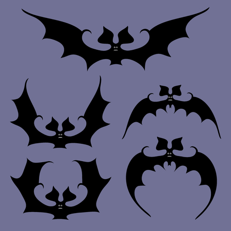 Set of bats flapping wings