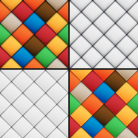 Stylized patchwork set seamless patterns