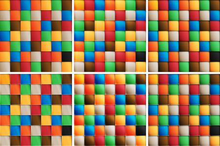 folksy: Multi color set of square tiles Illustration