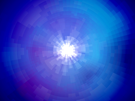 Radial abstract mosaic background in different shades of blue stylized space