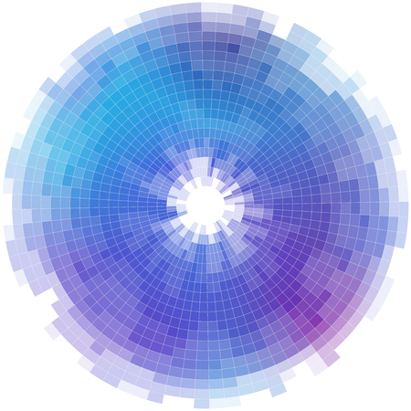 Radial abstract mosaic background in different shades of blue Illustration