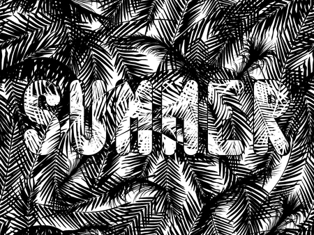 grille: The word summer written on a white seamless background with black palm leaves. Illustration