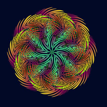 Stylized Mandala from leaves of palm trees in the colors of the disco on a dark background