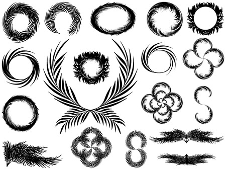 Frames and wreaths in black and white style from the leaves of palm trees. Set of elements for design Illustration