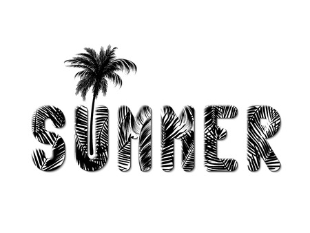 The word summer written in oversized letters made of palm leaves in black and white style and a palm tree growing out of the letters U