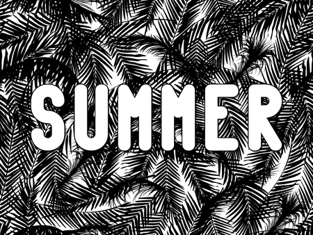 grille: The word summer written in white letters on seamless background from the chaotic palm leaves. Illustration