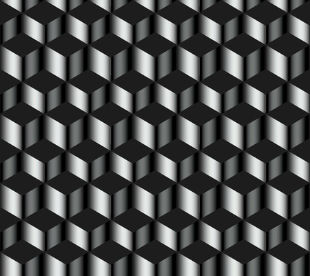 Seamless pattern of horizontal zig-zag metal strip on a dark background
