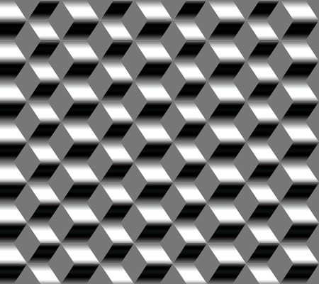 Seamless pattern of vertical zig-zag metal strips of different width on gray background