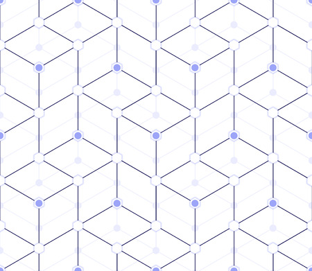 Multilayer seamless pattern in blue tones, in the form of cubes ladder with hexagons and circles at intersections