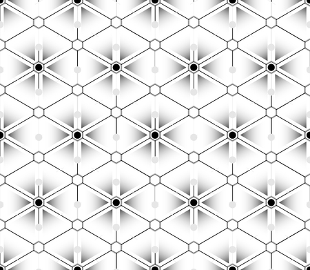 Gradient multilayer seamless pattern that looks like a flower from the outlines of diamond shapes with black and white hexagons Illustration