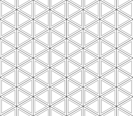 Retro-futuristic, layered seamless pattern of white shapes in the double black contours crossing Illustration